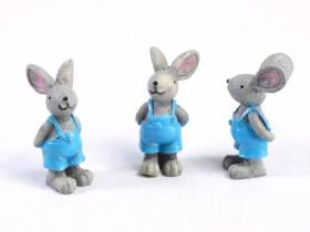 Figurine souris en salopette bleu x3
