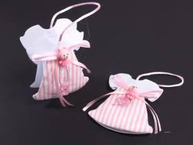 Contenant dragée baptême robe rose x2