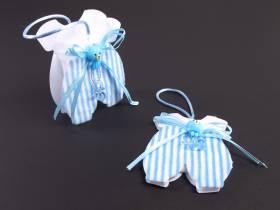 Contenant dragée baptême grenouillère bleu x2