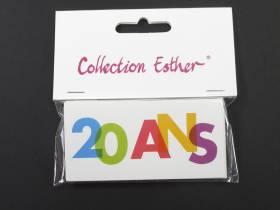 Marque place papier cartonné anniversaire 20 ans - x6