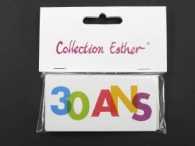 Marque place papier cartonné anniversaire 30 ans - x6