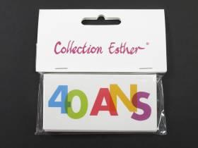 Marque place papier cartonné anniversaire 40 ans - x6