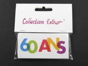 Marque place papier cartonné anniversaire 60 ans - x6