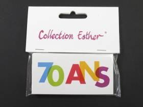 Marque place papier cartonné anniversaire 70 ans - x6