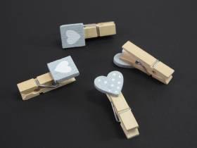 Pince cœur carré et pois blanc - gris x6
