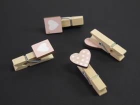 Pince cœur carré et pois blanc - rose x6