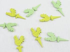 Coq à coller bois couleur jaune vert x8