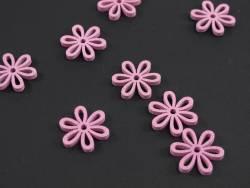 Fleur ajourée bois déco de table - Rose x8