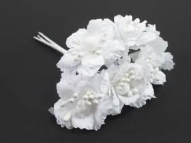 Bouquet de 6 fleurs blanches déco de table mariage