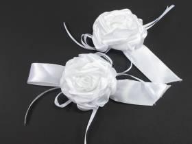 Rose blanche ruban x2