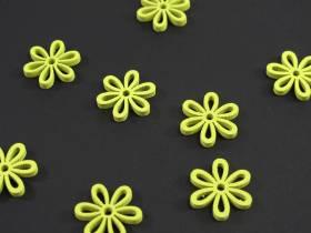 Fleur ajourée bois déco de table - Jaune x8