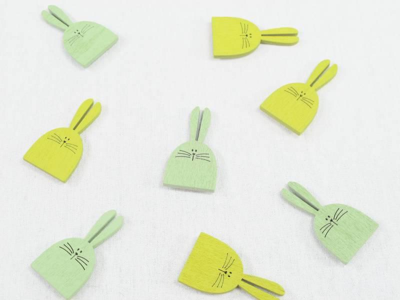 Lapin à coller bois couleur jaune vert x8