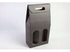 Boite 2 bouteilles - Croco Moka 18x9x39cm