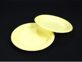 Assiette compostable canne à sucre prémium jaune Ø18cm