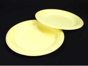 Assiette compostable canne à sucre prémium jaune Ø23cm