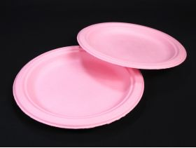 Assiette compostable canne à sucre prémium rose Ø23cm