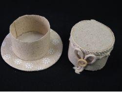 Contenant à dragées lin forme chapeau