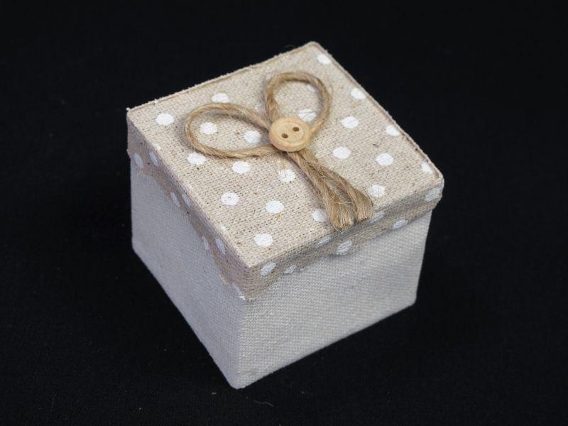 Boîte à dragées tissu et couvercle à pois – beige