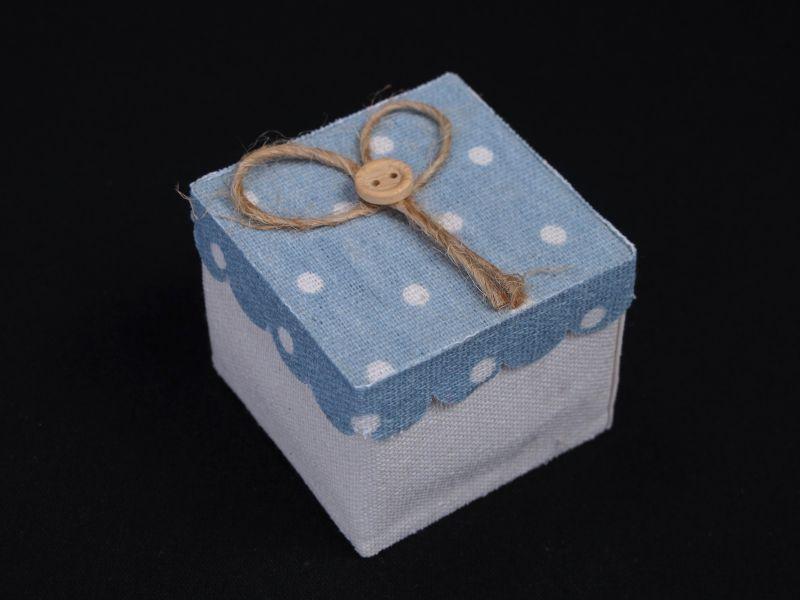Boîte à dragées tissu et couvercle à pois – turquoise