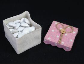 Boîte à dragées tissu et couvercle à pois – rose