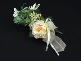 Mini bouquet avec rose et ruban - ivoire