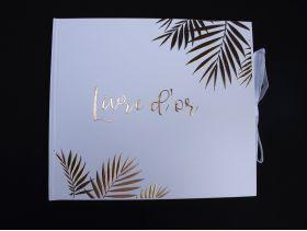 Livre d'or mariage et anniversaire Blanc et Feuille d'or