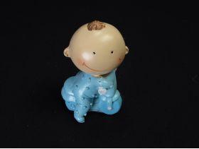 Figurine bébé à vélo déco baptême bleu