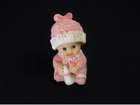 Figurine bébé biberon déco baptême rose