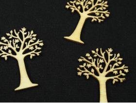 Petits arbres sculptés en bois déco de table x6