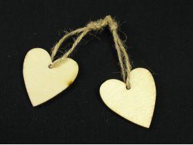 Coeur bois et ficelle naturelle à suspendre 4cm x8