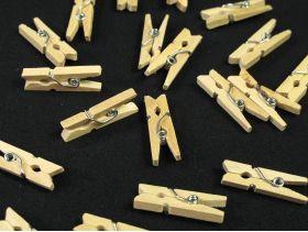 100 mini pinces à linge bois pour déco de table 2,5cm