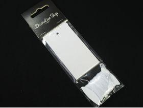 Etiquette blanche avec ruban satin 4,5x8,7cm x10