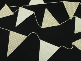Petite guirlande tissu brun à pois blanc 10 fanions - 180cm