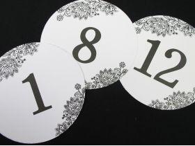 Numéro de table rond blanc et noir