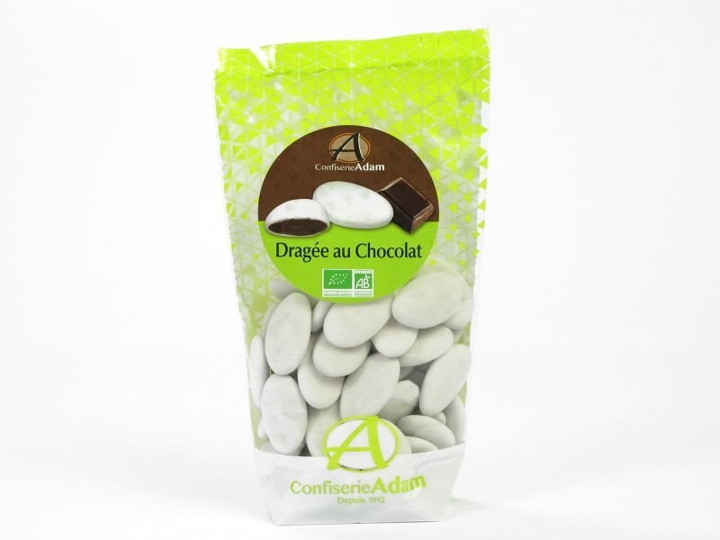 Dragée bio chocolat 74% – blanc 175g