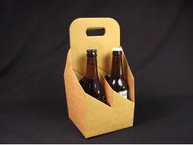 Panier carton 4 bouteilles bière - Brun