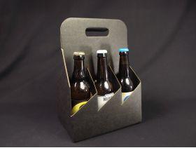 Panier carton 6 bouteilles bière - Noir