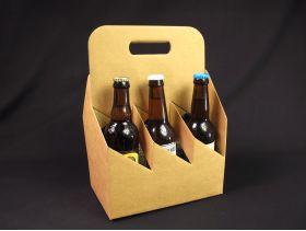 Panier carton 6 bouteilles bière - Brun