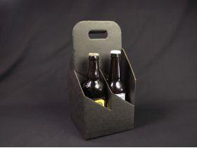 Panier carton 4 bouteilles bière - Noir