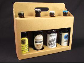 Panier présentation carton 4 bouteilles bière - Brun