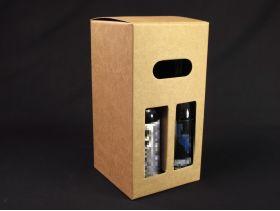 Coffret carton présentation 4 bouteilles bière - Brun