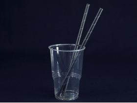 Paille recyclable en papier carton rigide noir Ø0,8 x 21cm
