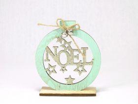 Boule Noel Bois 11x12x4cm /1 Naturel Or/Vert
