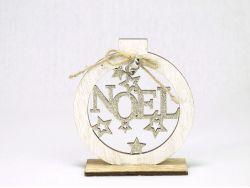 Boule Noel Bois 11x12x4cm /1 Blanc Or