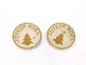 Rondin Bois Joyeux Noel Sapin 5cm /6 Champagne/Naturel