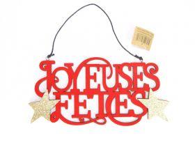 Joyeuses Fetes Velours Susp/1 Rouge Or