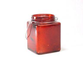 Photophore verre carre a anse 7,5*10cm /1 rouge fs