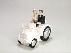 Figurine mariage - Couple maries sur tracteur blanc